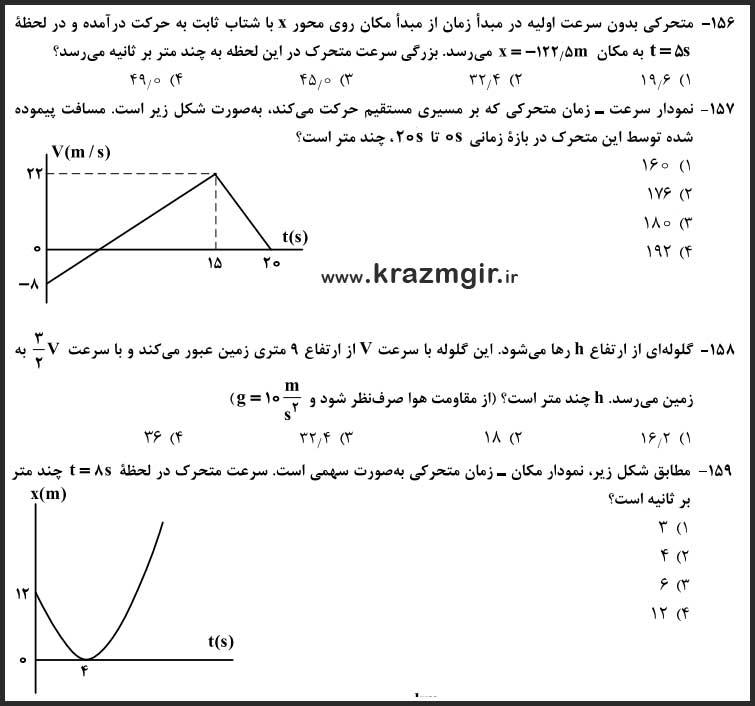 سوالات مبحث-حرکت-فیزیک-کنکور-ریاضی-۹۸