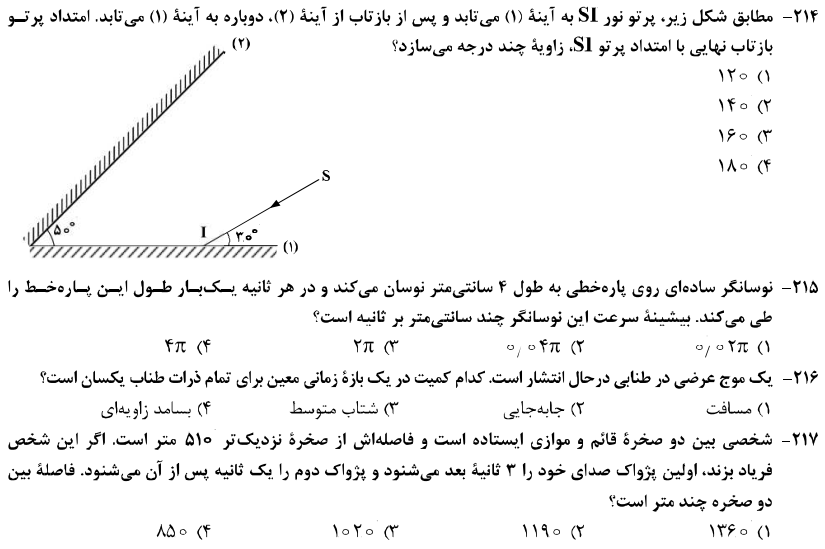 سوالات مبحث موج و نوسان فیزیک کنکور تجربی ۹۸
