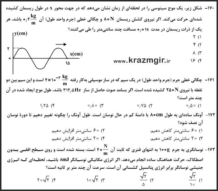 سوالات مبحث-نوسان-و-موج-فیزیک-کنکور-ریاضی-۹۸
